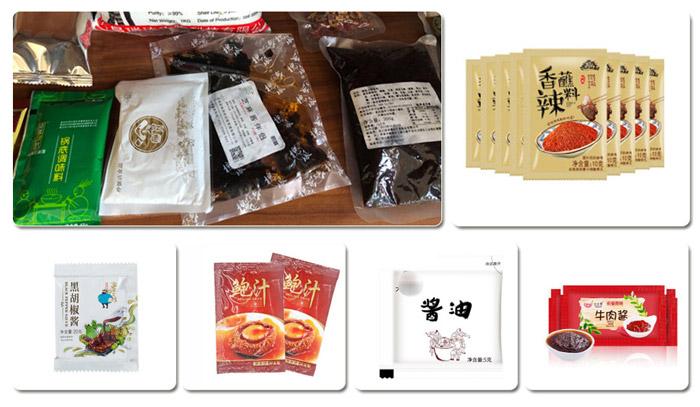 全套番茄酱ballbet贝博在线-小型番茄酱包装设备生产线可包装样品展示